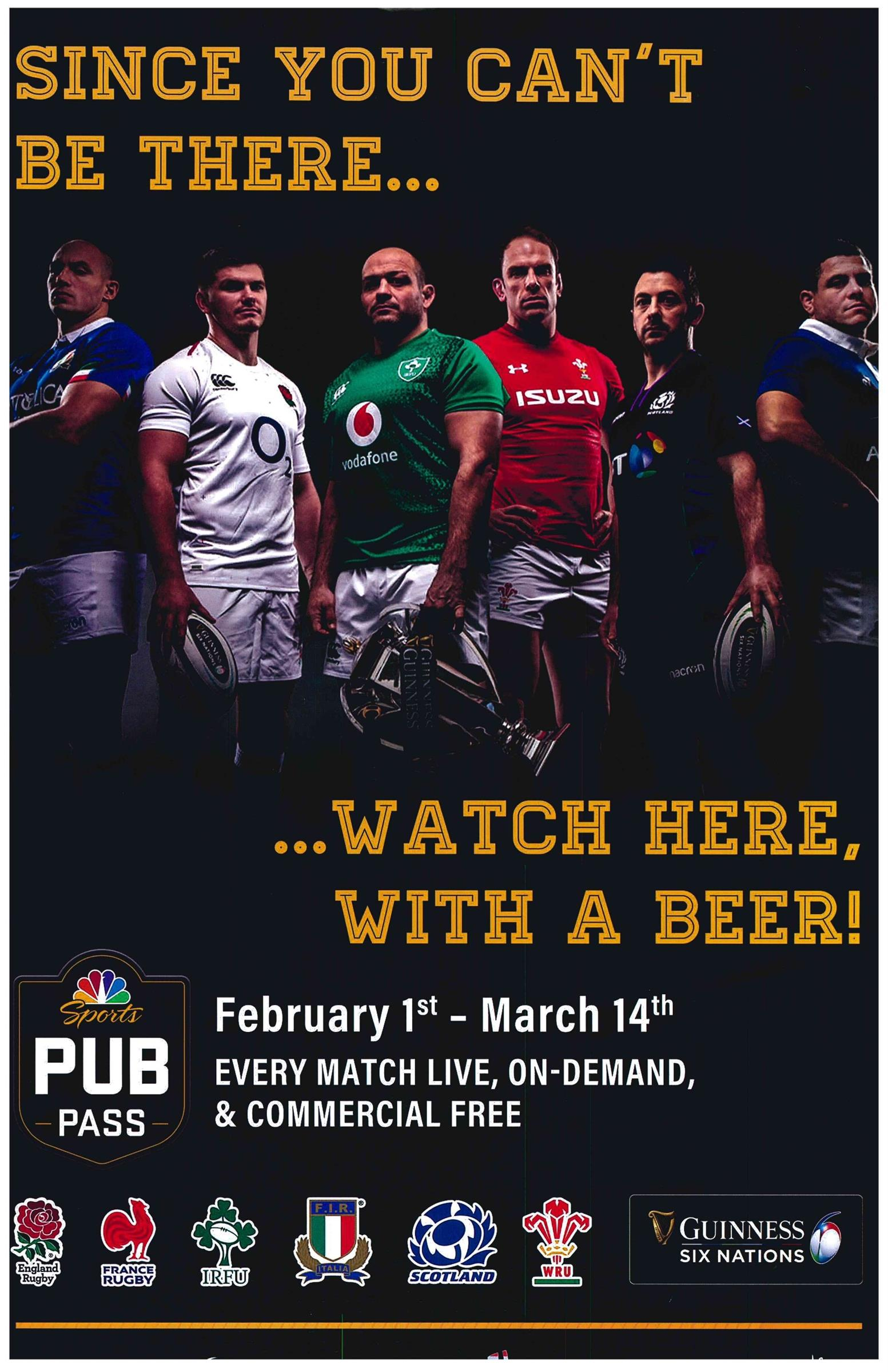 ince you cant be there...watch here, with a beer! February 1st - March 14th, Every match live, on-demand, and commercial free