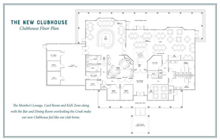 The New Clubhouse Floor Plan the member's lounge, card room and kid's zone along with the bar and dining room overlooking the creek make our new clubhouse feel like our club home