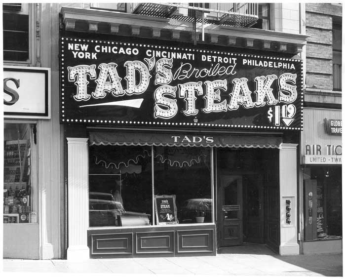 Exterior of building. Tad's Broiled Steaks