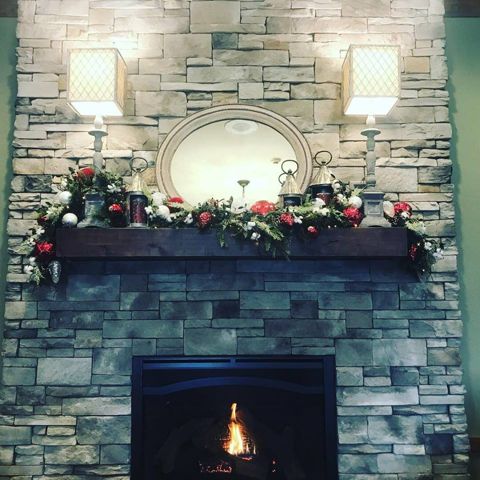 stone fireplace at Yoder's Kitchen