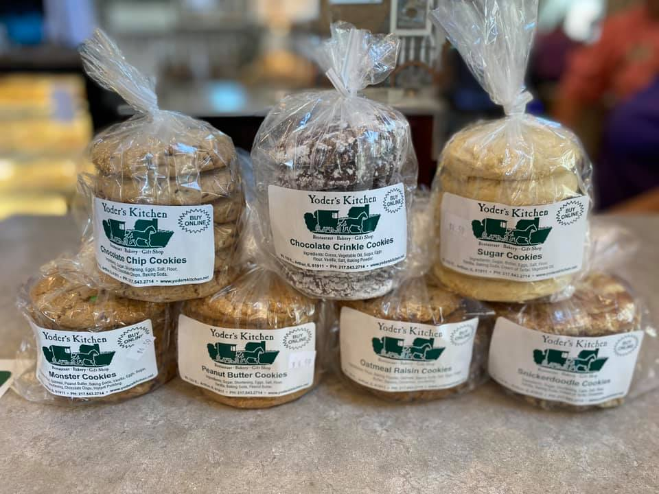7 packages of different cookies offered at Yoder's Kitchen