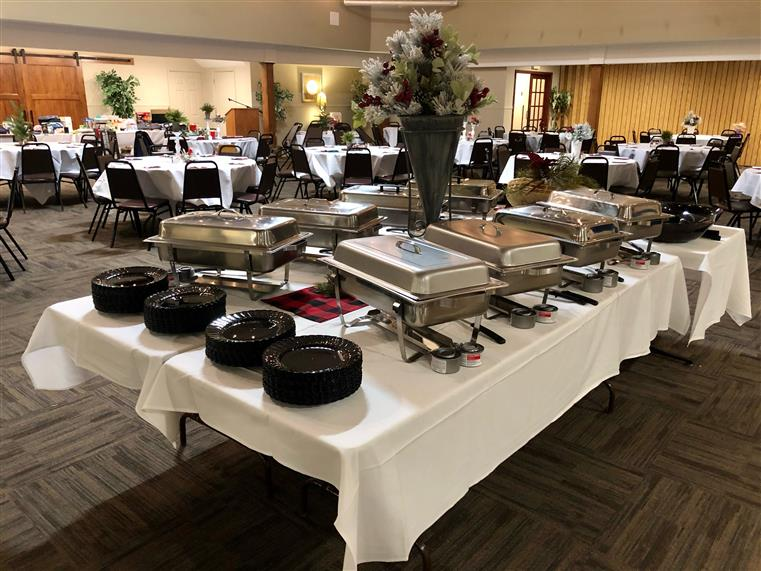 buffet table set up in a room