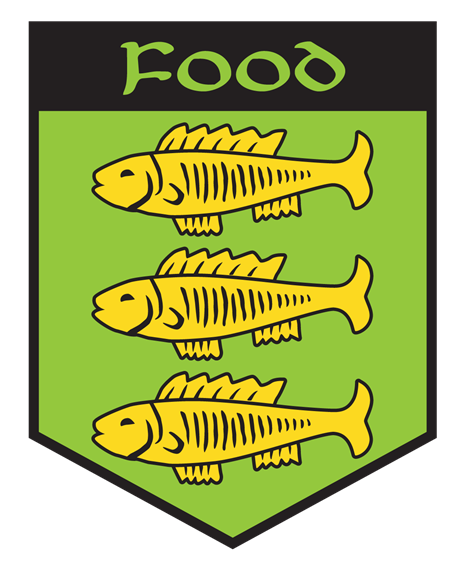 Food. green and yellow crest with three fish on it.