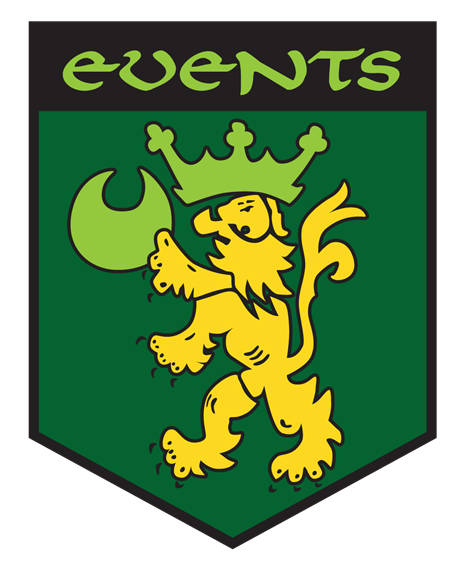 Events. green and yellow crest with lion wearing a crown and holding the moon on it