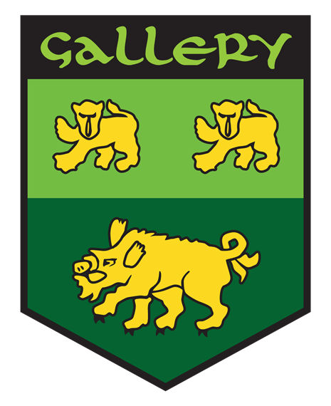 Gallery. green and yellow crest with two cubs and a boar on it.