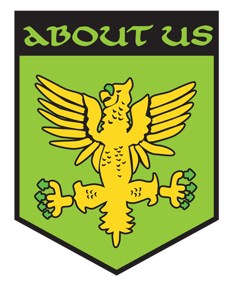 About. green and yellow crest with eagle on it.
