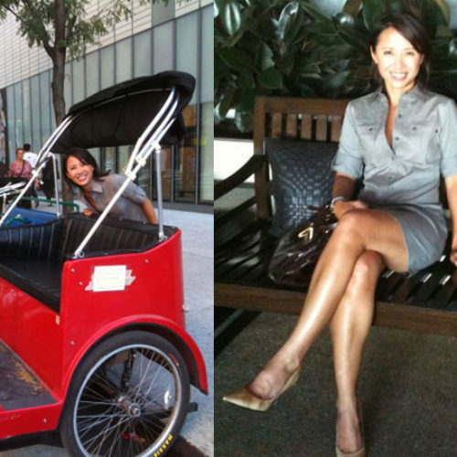 Quynh Nguyen-EXECUTIVE CHEF sitting on bench with gray dress with legs crossed