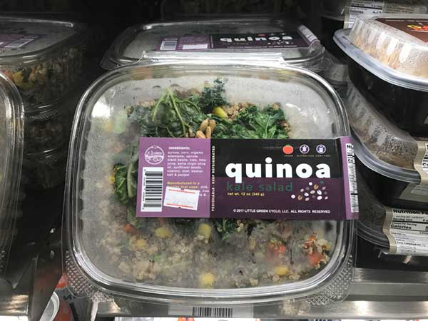 Quinoa salad in plastic container