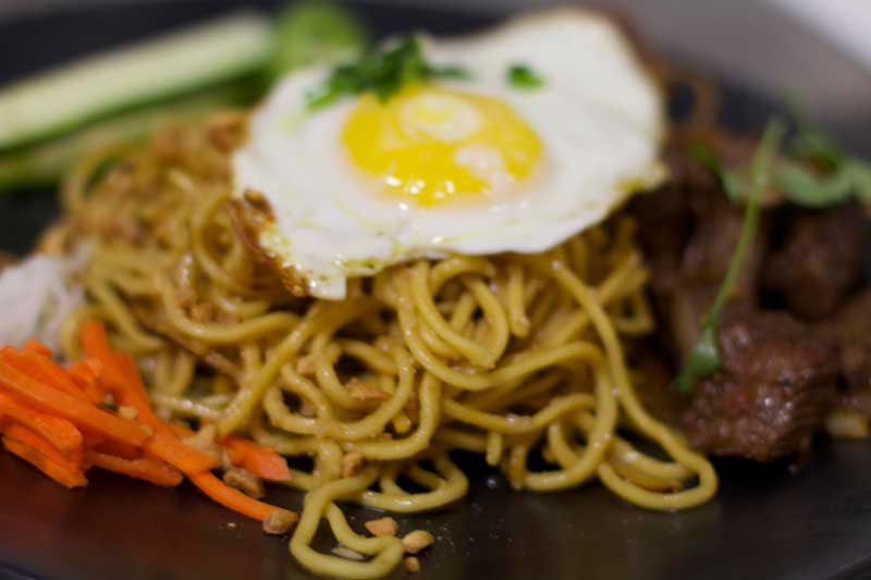 Egg over noodles