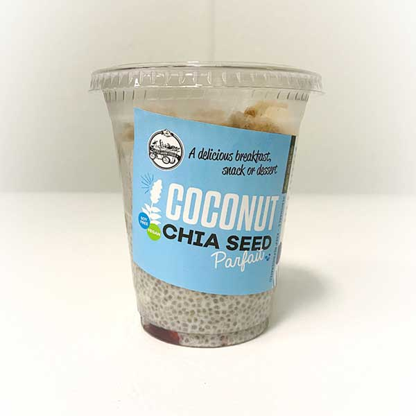 Coconut Chia Seed snack in plastic cup