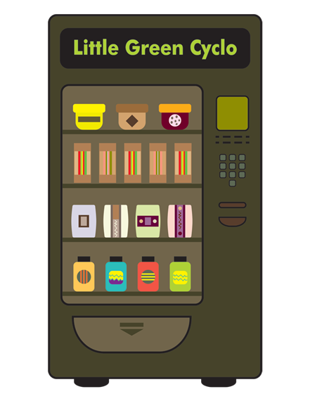 Cartoon vending machine saying Little Green Cyclo