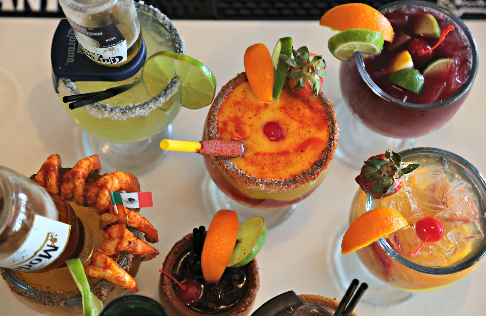 Top-down view of assorted cocktails