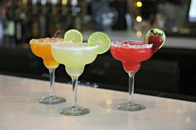 Assorted margaritas on a bar-top