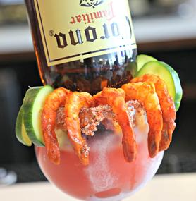 Frozen Corona cocktail with shrimp and cucmbers