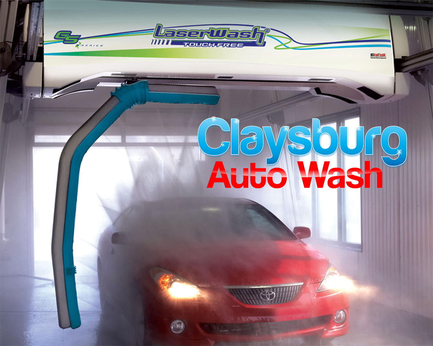 Red car in a car wash with water being sprayed over it. Claysburg Auto Wash.