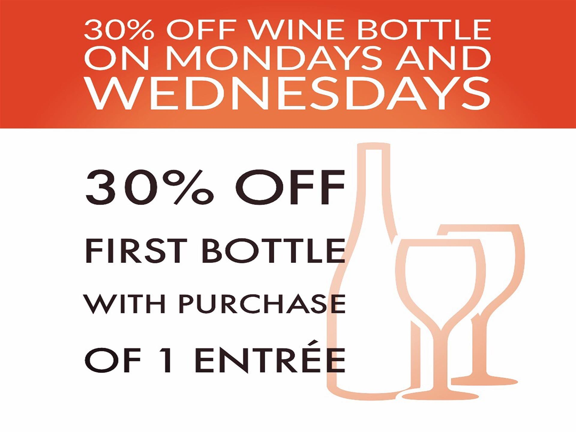 30% off wine bottle on mondays and wednesdays, first bottle with purchase of 1 entree