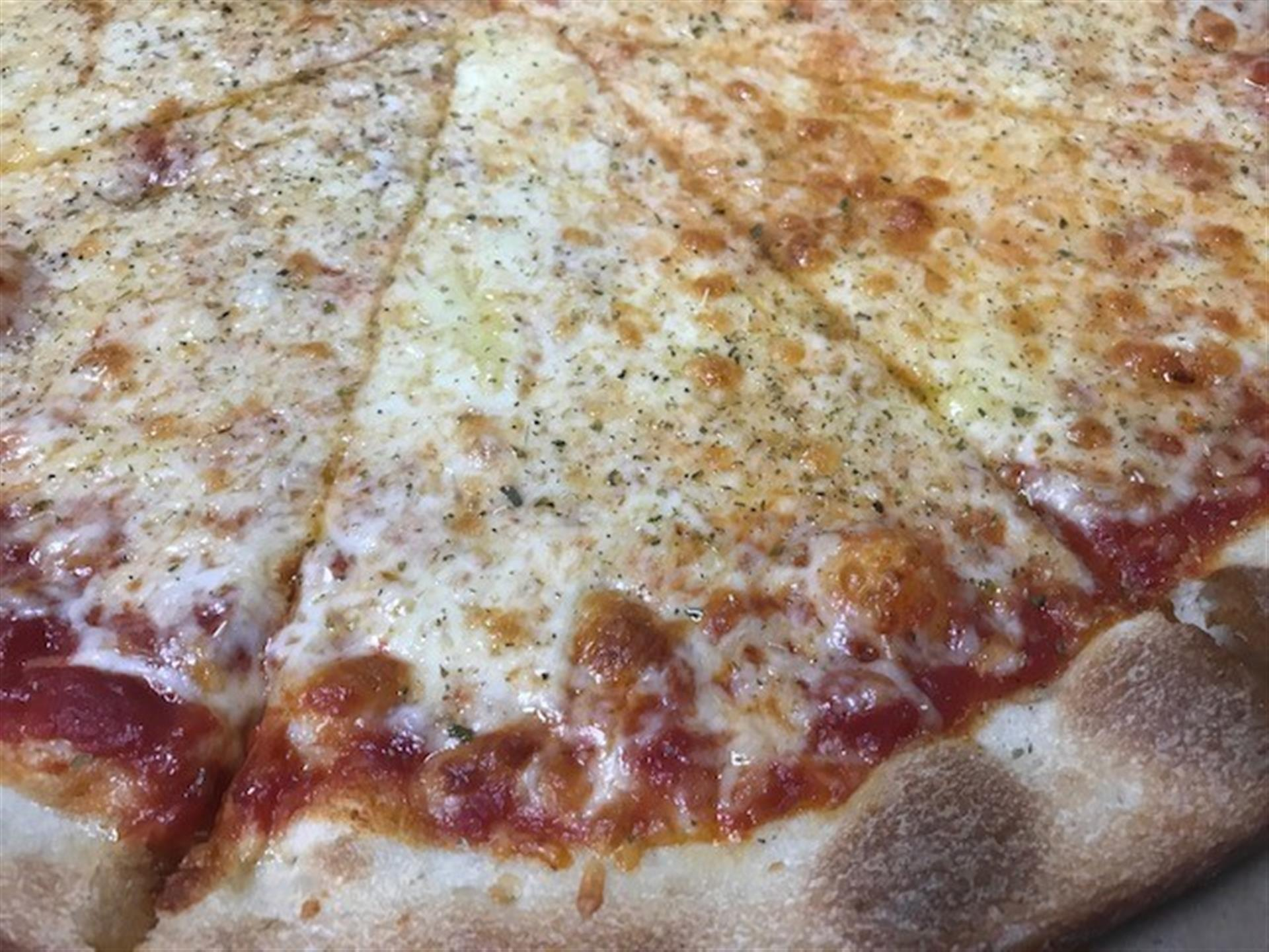 Closeup of cheese pizza
