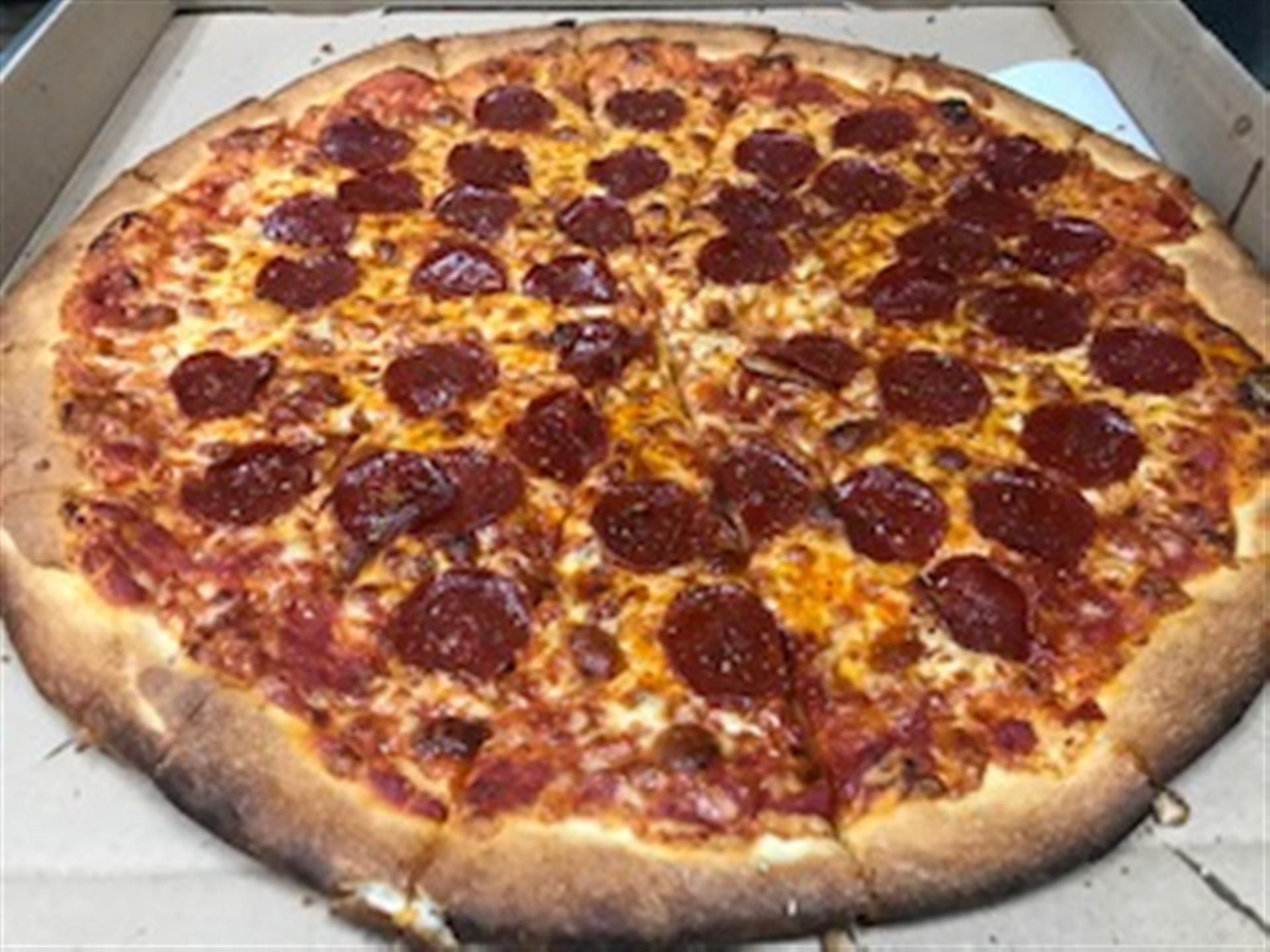 large Pepperoni pizza top view