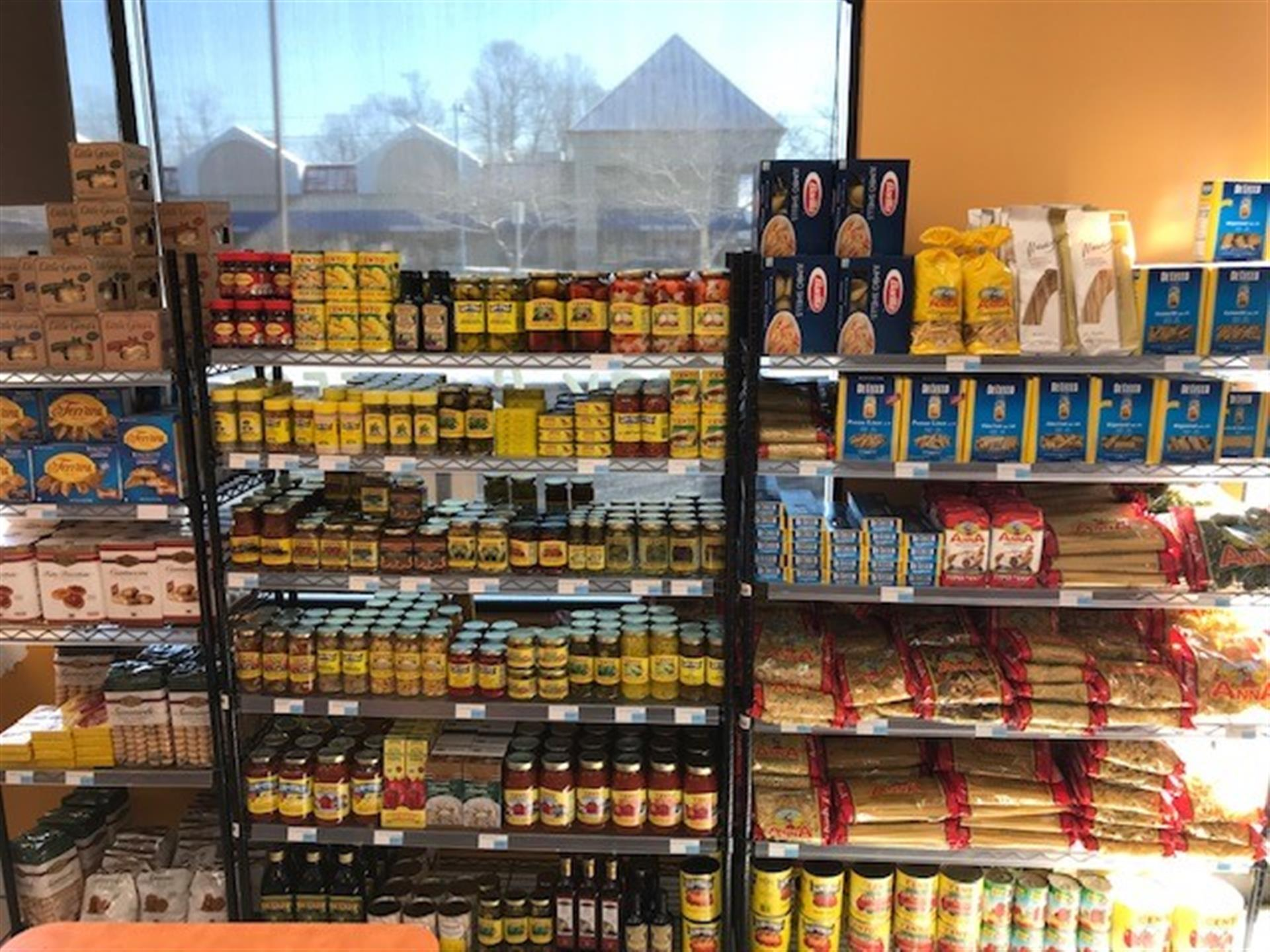 store shelves with assorted italian food items