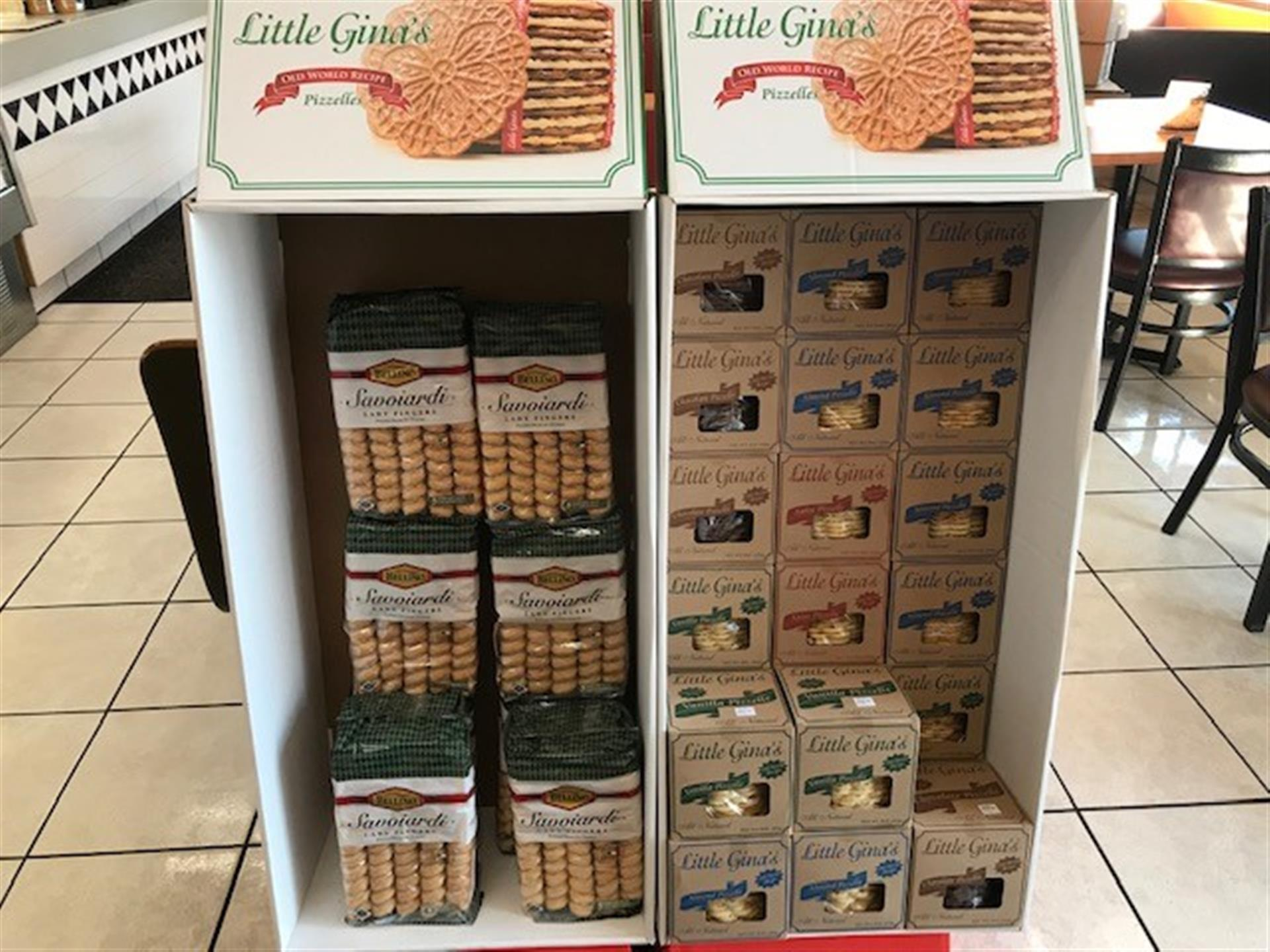 Little Gina's Italian Cookies stocked on the shelves