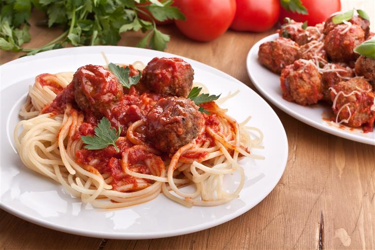 Spaghetti with Meatballs. Our amazing traditional Italian style meatballs with imported house-grated Romano cheese, homemade marinara over fresh-cooked pasta.