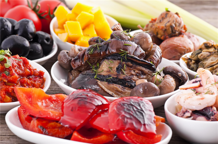 antipasto - roasted peppers, and mushrooms