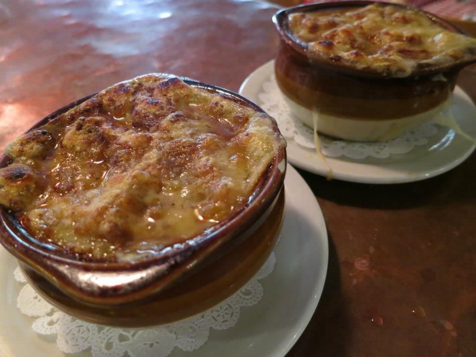 Two small bowls of French onion soup