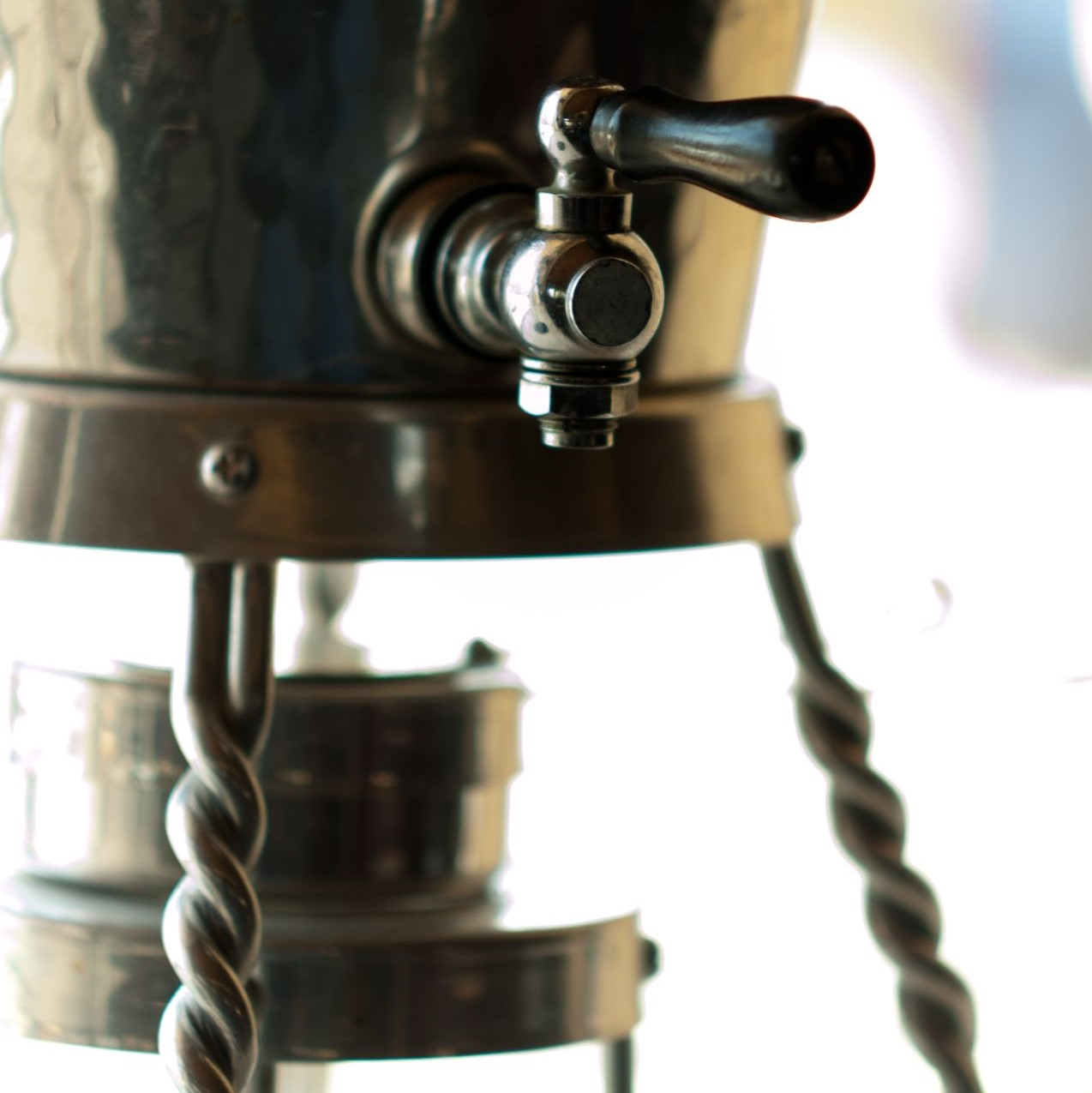 Close-up of an old fashioned metal coffee rig