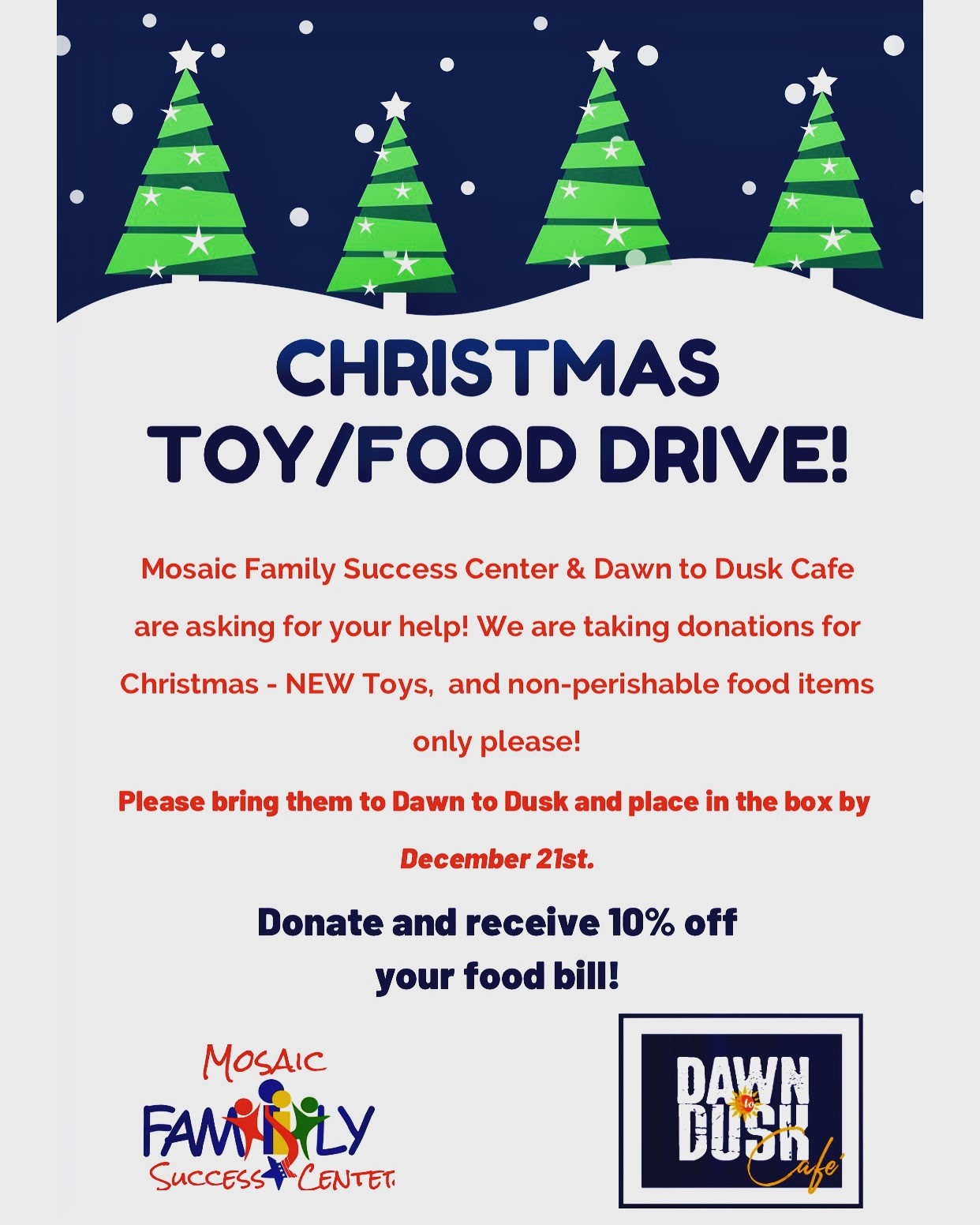 Christmas toy and food drive: donate by december 21st | DFonate and recieve 10% off your food bill