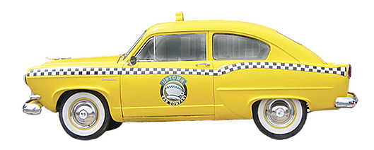 Old fashioned yellow taxi cab with Uptown Cafe branding on the side