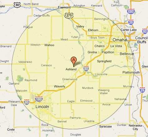 Highlighted service area map centered around Ashland, NE