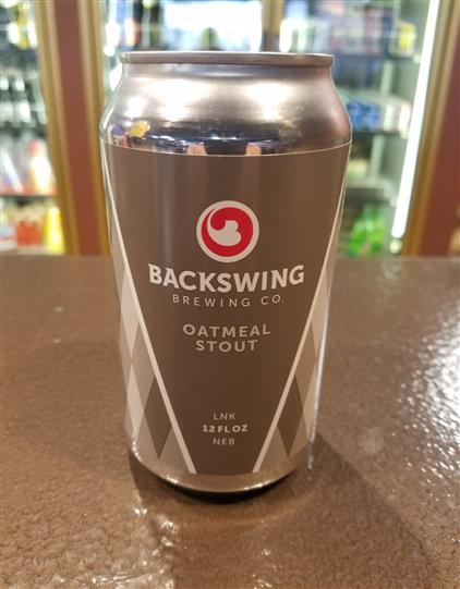 backswing oatmeal stout can on bartop