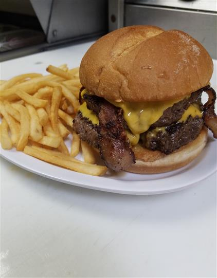 bacon cheese burger with french fries