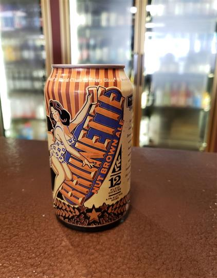 brunette nut brown ale in a can on bar top