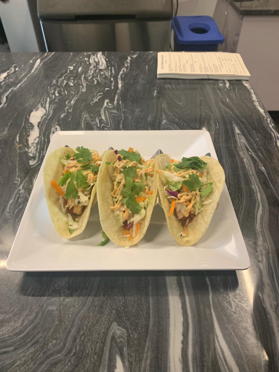 Three of Nick's Chicken Tacos