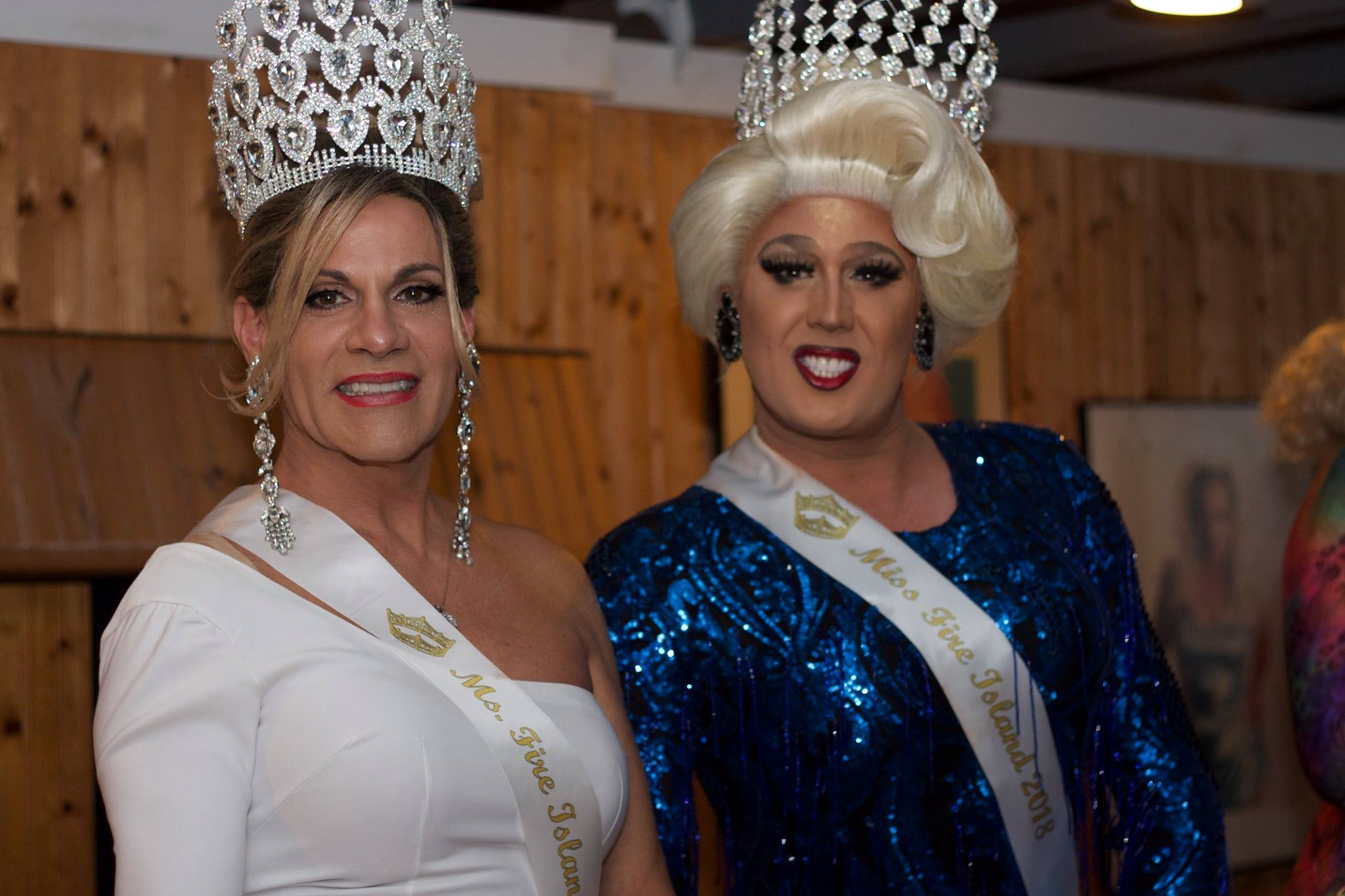 Miss Fire Island Pageant contestants wearing tiaras posing for a photo