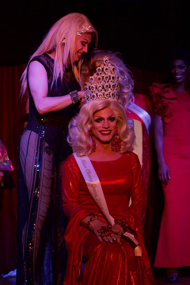 Miss Fire Island Pageant contestant being crowned on stage