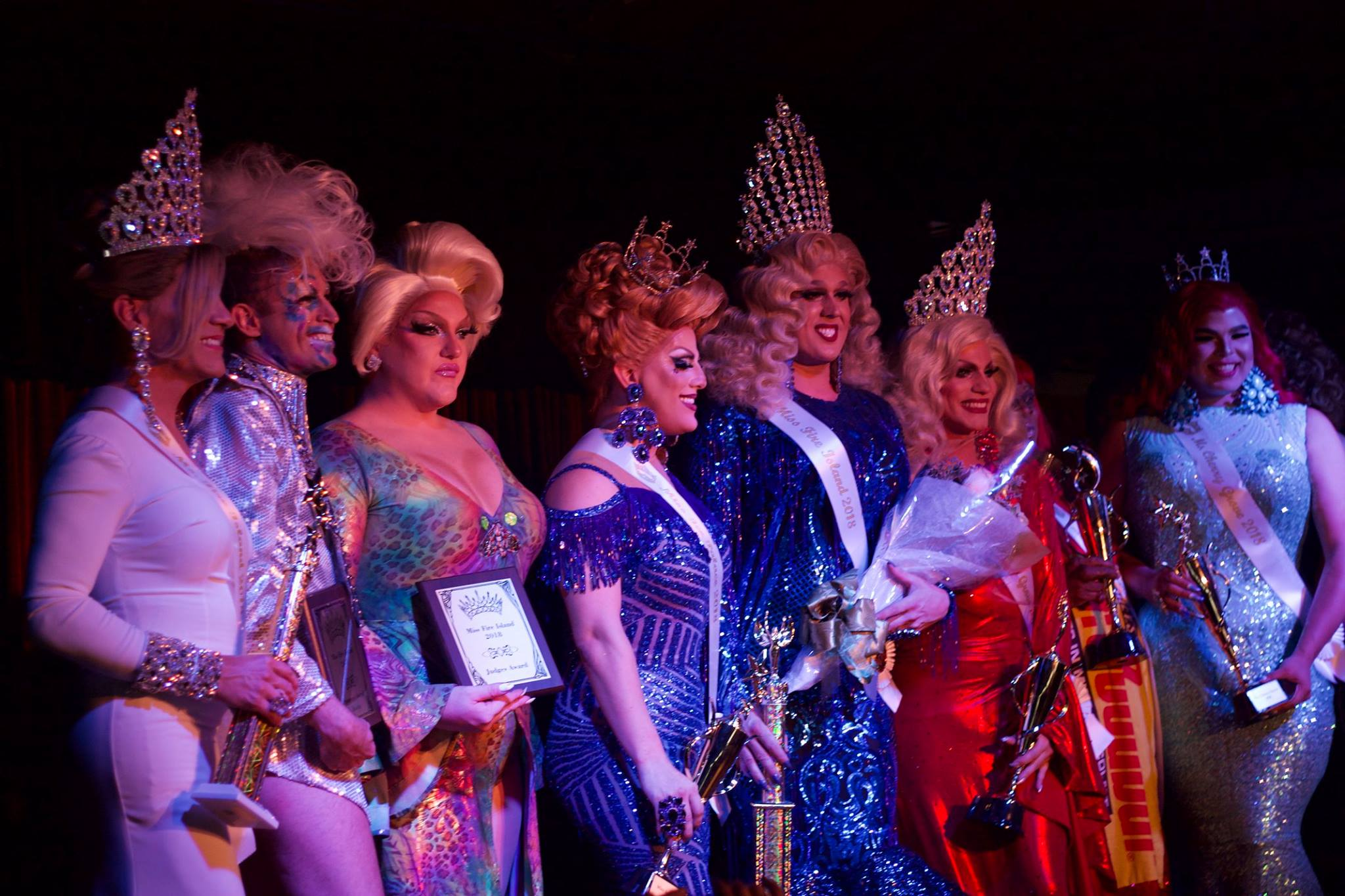Miss Fire Island Pageant contestants dressed up on stage