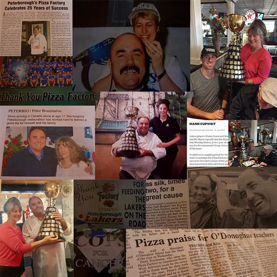 Collage showing the Pizza Factory family over the years, along with various customers and staff of the Pizza Factory. Newspaper articles documenting our success.