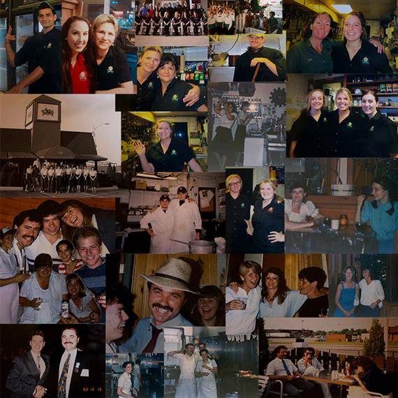 Collage showing the Pizza Factory family over the years, along with various customers and staff of the Pizza Factory.