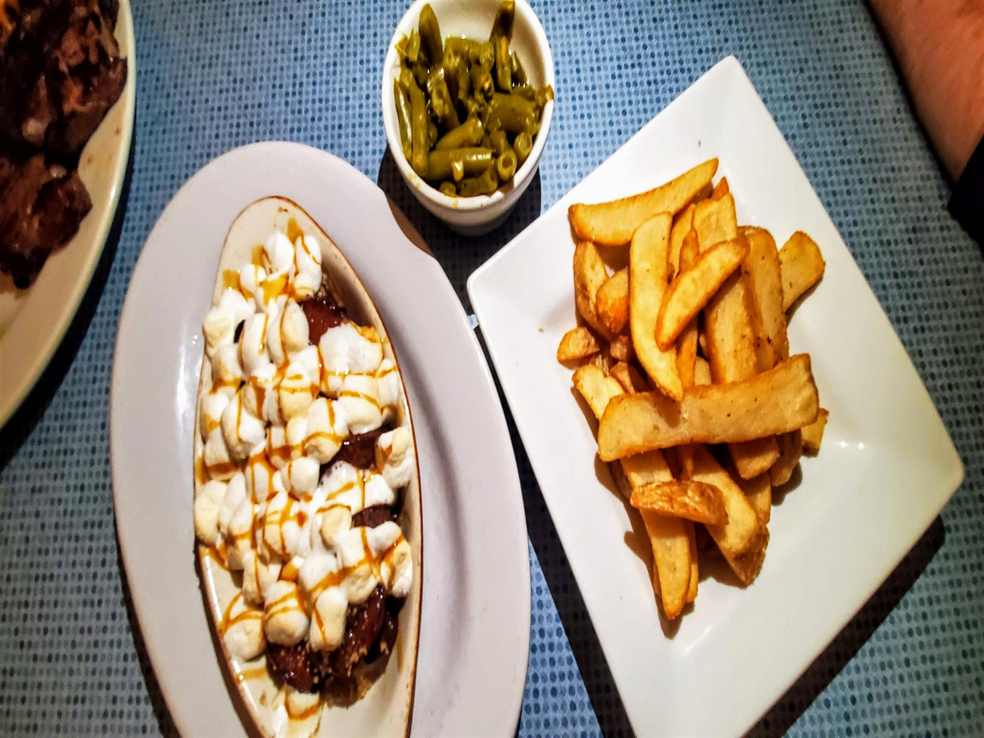 Sides to choose from - loaded sweet potatoes, steak fries, green beans