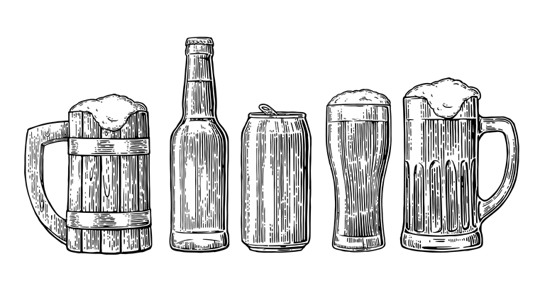 white sketch of various beer glasses and bottles