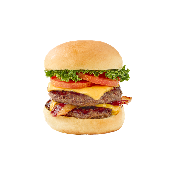 Broadway burger with bacon, lettuce and tomato