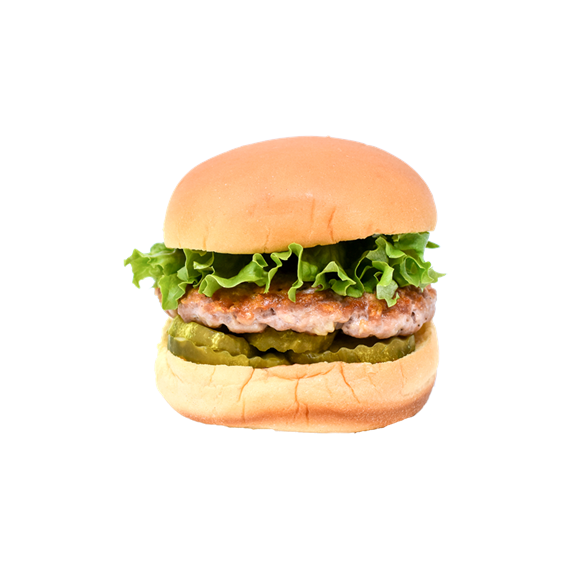 Haven burger with lettuce, pickles and ranch sauce.