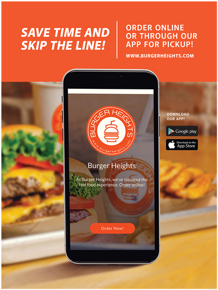 Save time and skip the line! Order online or through our App for Pickup! www.burgerheights.com, download our app on Google Play or Apple App Store.