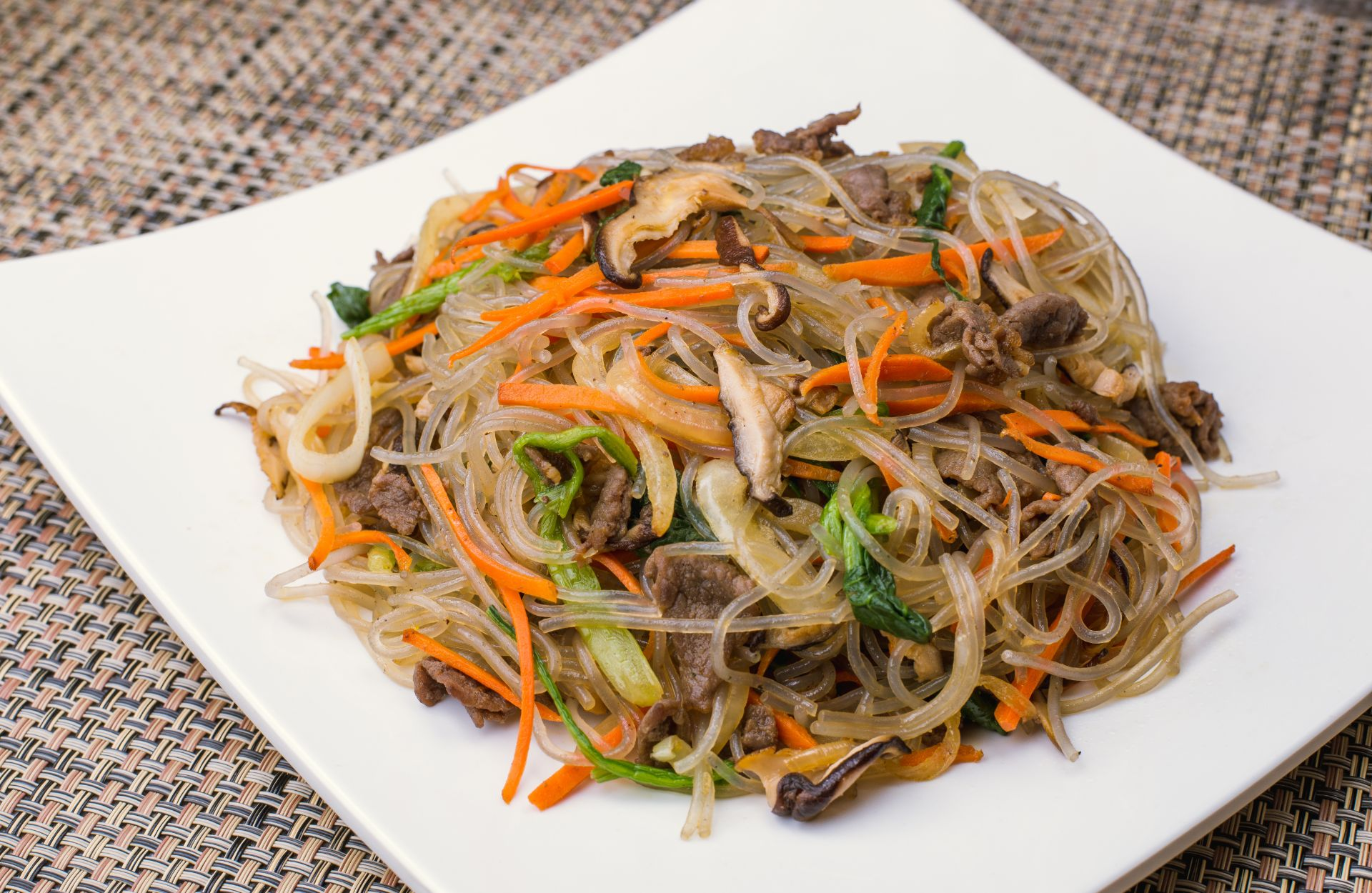 Korean traditional sweet potato noodle dish Japchae