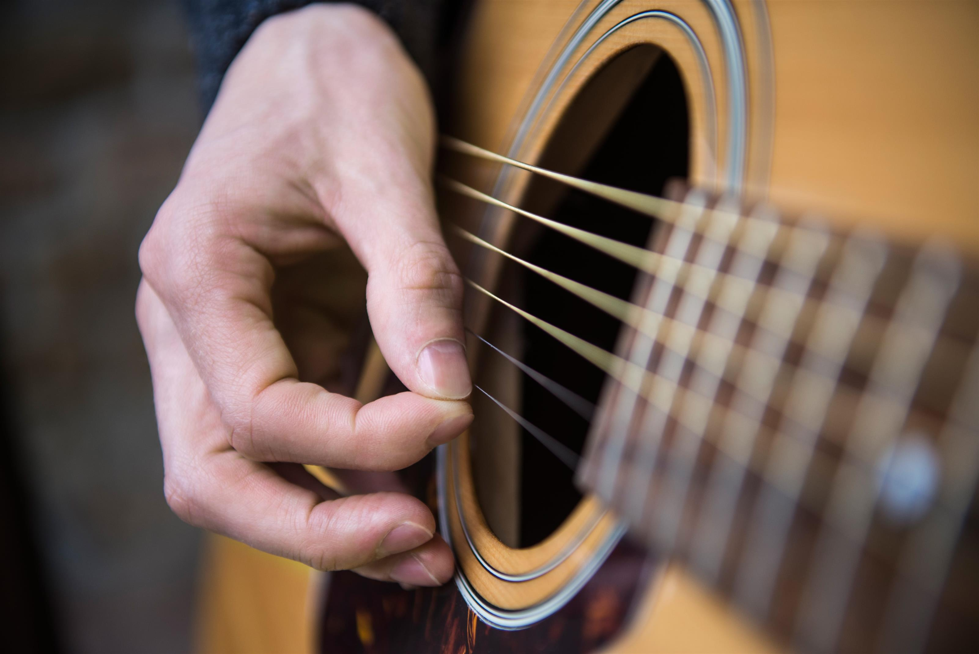 Hand strumming on a guitar