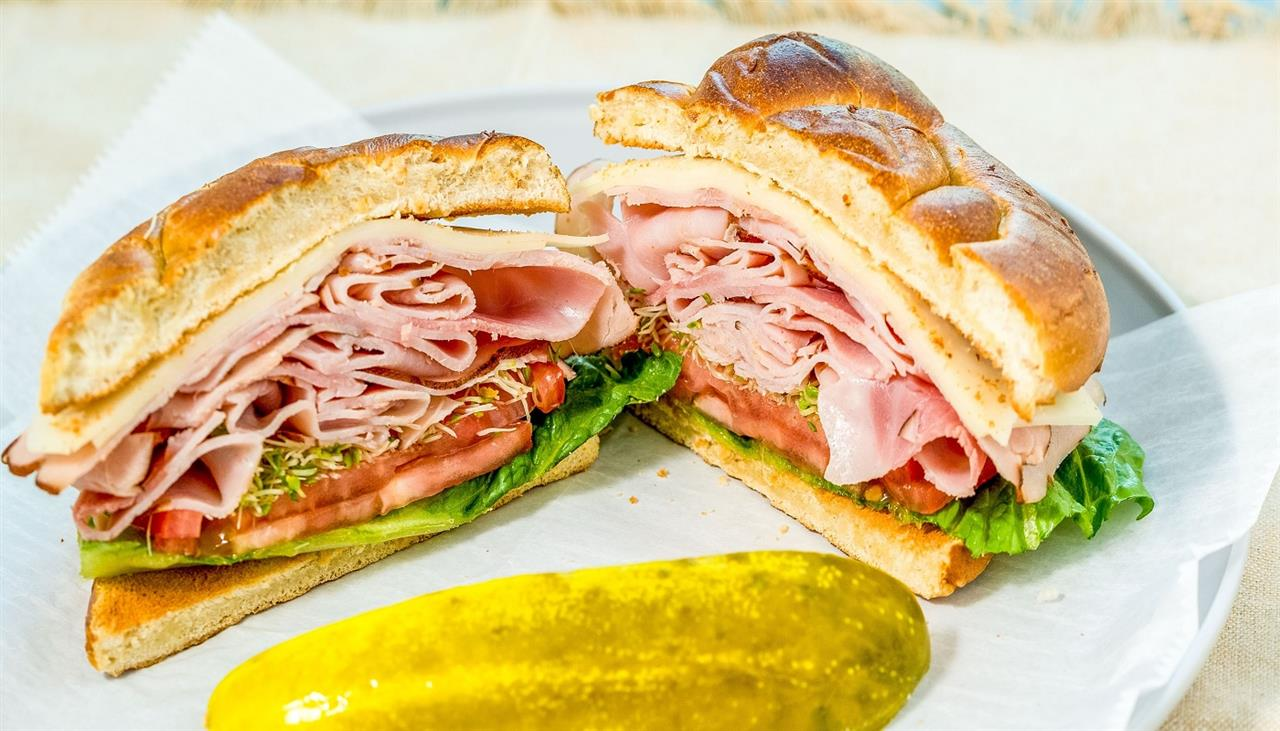Ham and Swiss on a Toasted Pretzel Roll