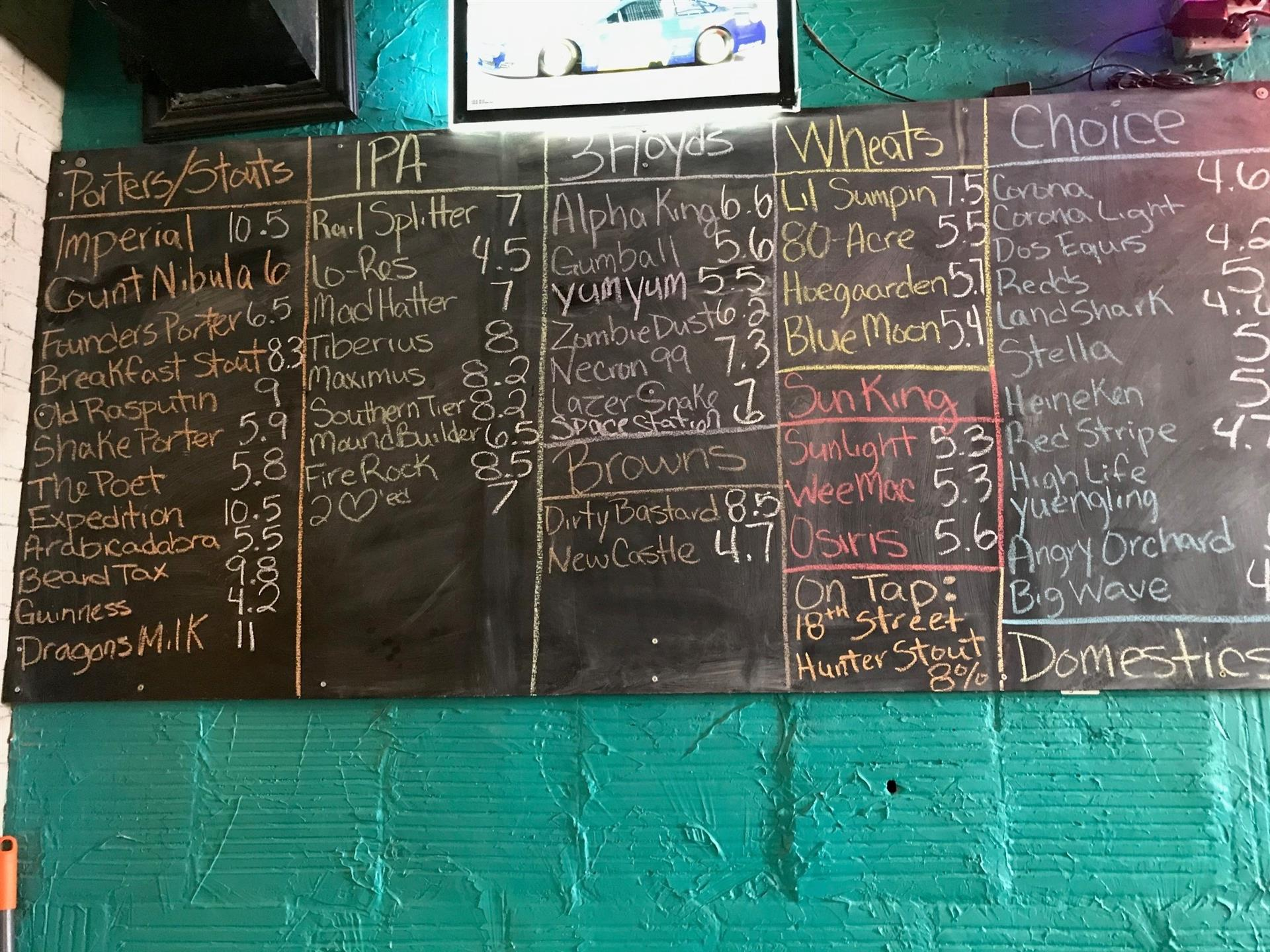 chalkboard listing out beers against blue wall