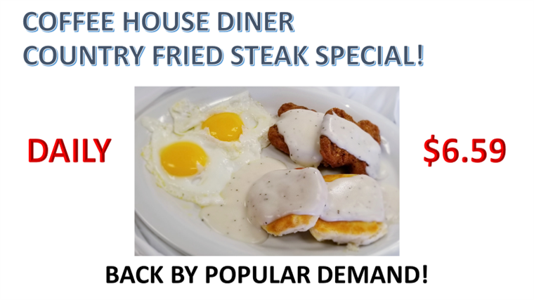 country fried steak special, daily special for $6.59